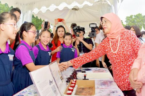 President of Singapore Halimah with students